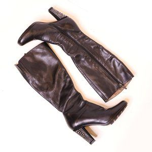 Ron White Leather Studded Heeled Boots Sz 6